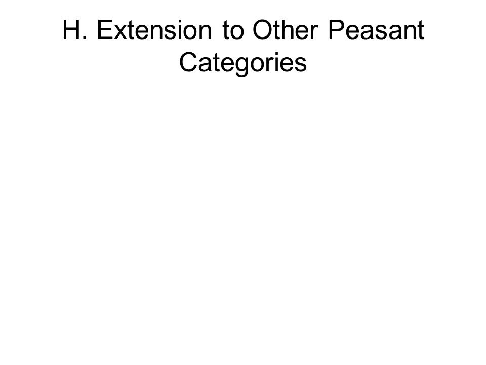 H. Extension to Other Peasant Categories