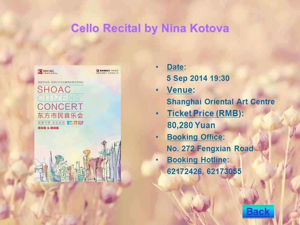 Summer - Joe Hisaishi Piano Stories Concert in Shanghai Date: 30 Sep 2014 19:30 Venue: Shanghai Oriental Art Centre Ticket Price (RMB): 80,160,260VIP,360,366(260x2), 566(360x2) Yuan Booking Office: No.