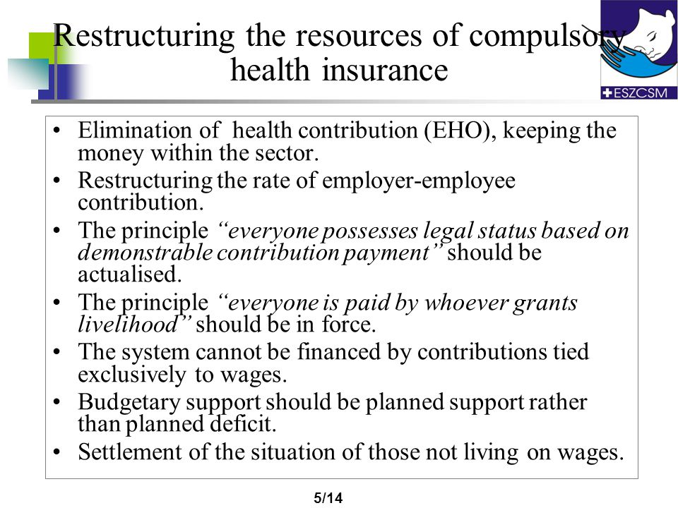 4/14 Specification and selection of risks treated by compulsory health insurance Separation of risks having outside interest: occupational health, com