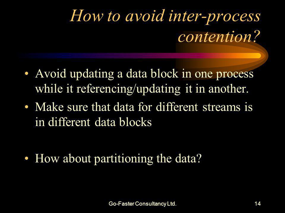 Go-Faster Consultancy Ltd.14 How to avoid inter-process contention? Avoid updating a data block in one process while it referencing/updating it in ano