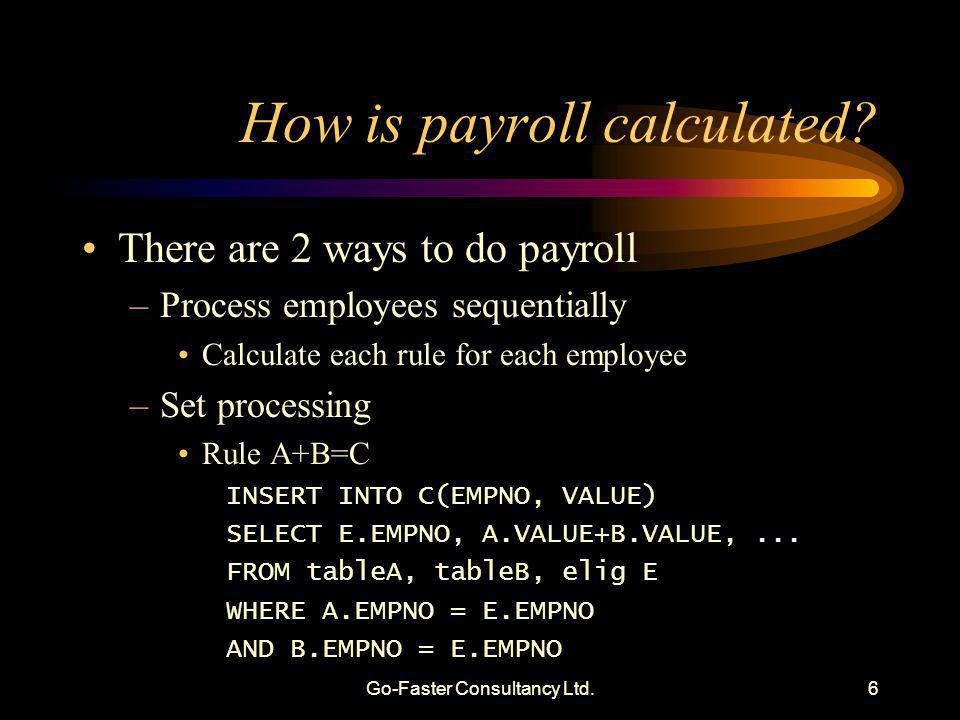 Go-Faster Consultancy Ltd.6 How is payroll calculated? There are 2 ways to do payroll –Process employees sequentially Calculate each rule for each emp