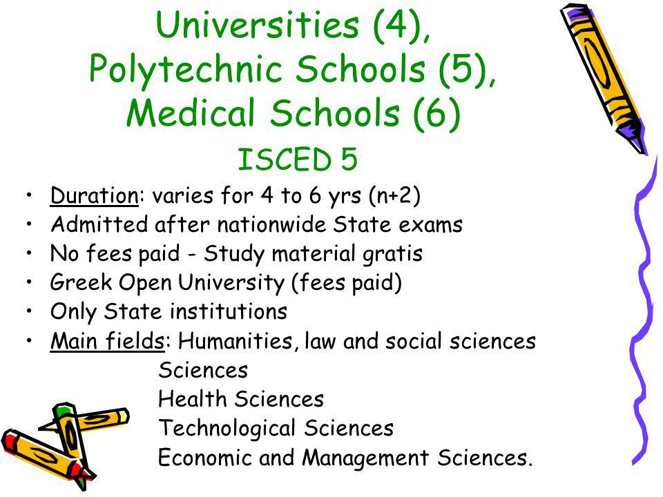 Universities (4), Polytechnic Schools (5), Medical Schools (6) ISCED 5 Duration: varies for 4 to 6 yrs (n+2) Admitted after nationwide State exams No