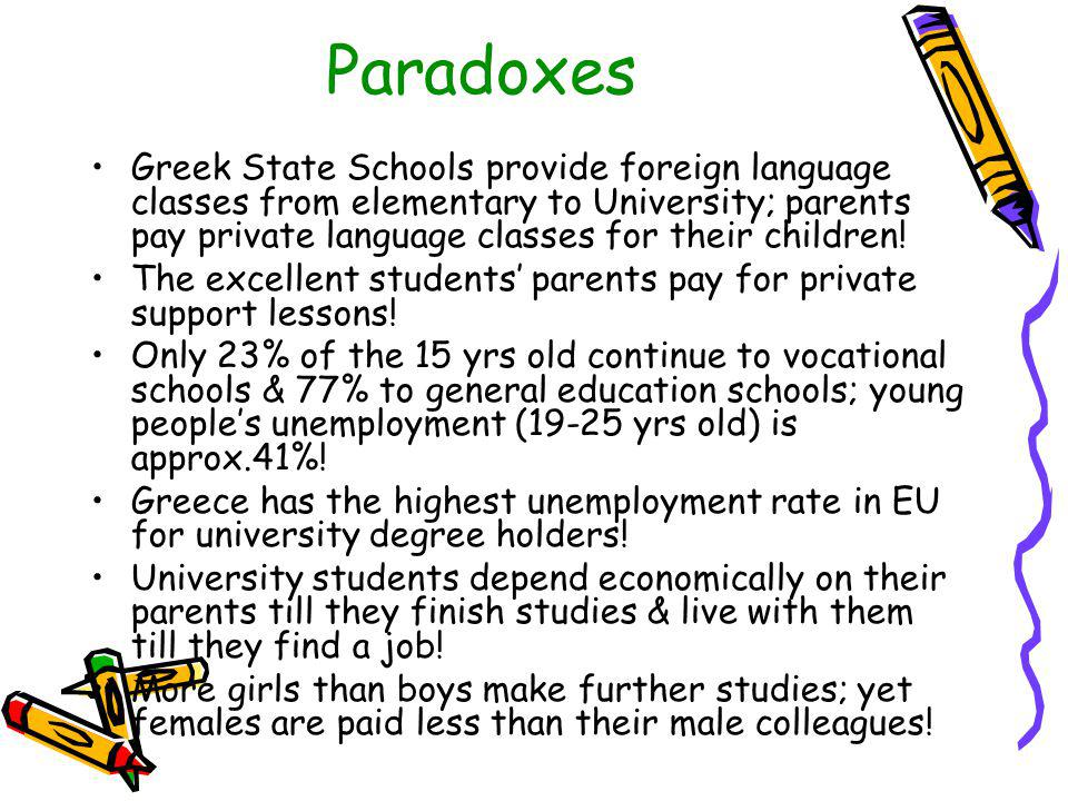 Paradoxes Greek State Schools provide foreign language classes from elementary to University; parents pay private language classes for their children.