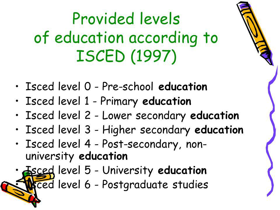Provided levels of education according to ISCED (1997) Isced level 0 - Pre-school education Isced level 1 - Primary education Isced level 2 - Lower se