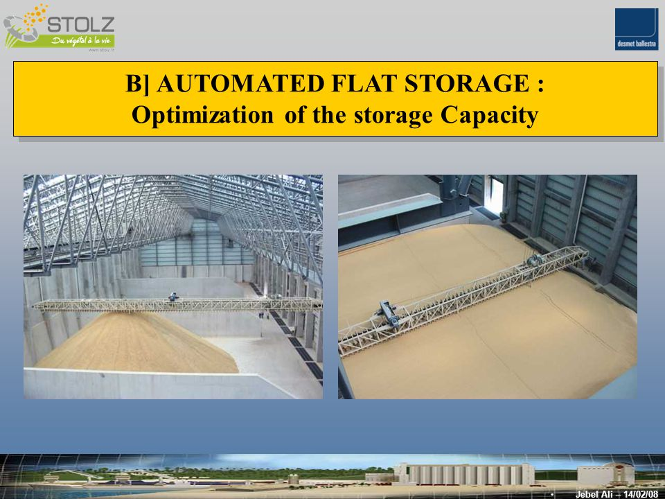 B] AUTOMATED FLAT STORAGE : Optimization of the storage Capacity B] AUTOMATED FLAT STORAGE : Optimization of the storage Capacity Jebel Ali – 14/02/08