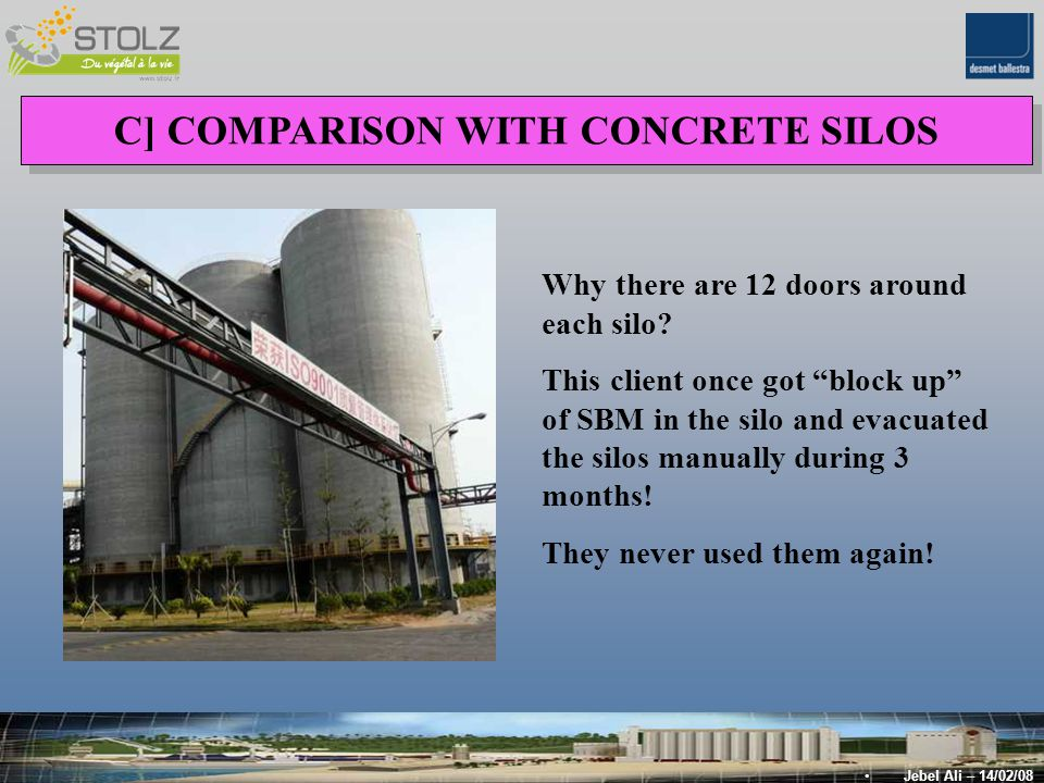 C] COMPARISON WITH CONCRETE SILOS Jebel Ali – 14/02/08 Why there are 12 doors around each silo.