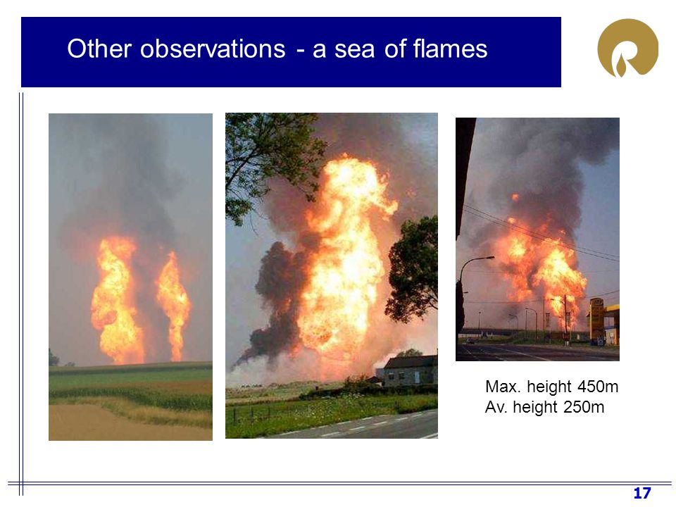 17 Max. height 450m Av. height 250m Other observations - a sea of flames