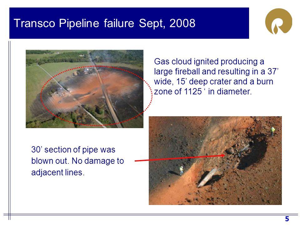 6 Transco Pipeline failure Sept, 2008 Appomattox Fire Dept, Virginia State Police responded
