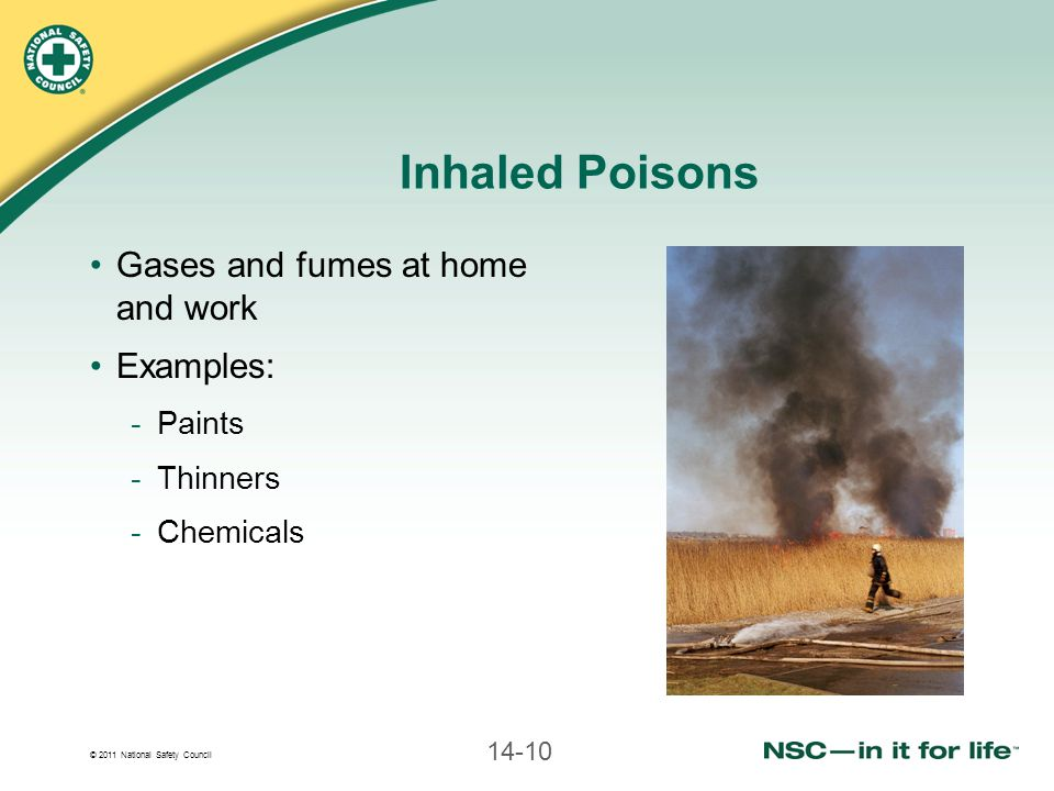 © 2011 National Safety Council 14-10 Inhaled Poisons Gases and fumes at home and work Examples: -Paints -Thinners -Chemicals