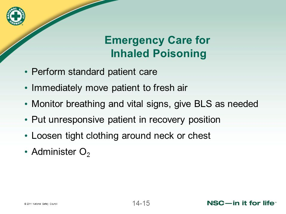 © 2011 National Safety Council 14-15 Emergency Care for Inhaled Poisoning Perform standard patient care Immediately move patient to fresh air Monitor