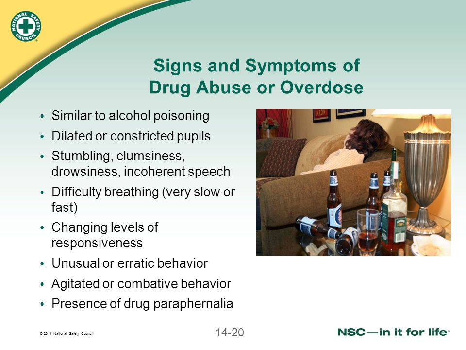 © 2011 National Safety Council 14-20 Signs and Symptoms of Drug Abuse or Overdose Similar to alcohol poisoning Dilated or constricted pupils Stumbling, clumsiness, drowsiness, incoherent speech Difficulty breathing (very slow or fast) Changing levels of responsiveness Unusual or erratic behavior Agitated or combative behavior Presence of drug paraphernalia