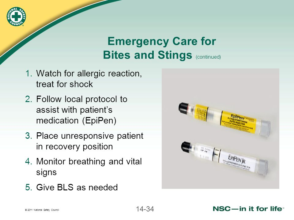 © 2011 National Safety Council 14-34 Emergency Care for Bites and Stings (continued) 1.Watch for allergic reaction, treat for shock 2.Follow local protocol to assist with patient's medication (EpiPen) 3.Place unresponsive patient in recovery position 4.Monitor breathing and vital signs 5.Give BLS as needed