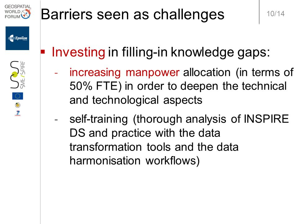 10/14 Barriers seen as challenges  Investing in filling-in knowledge gaps: ˗ increasing manpower allocation (in terms of 50% FTE) in order to deepen