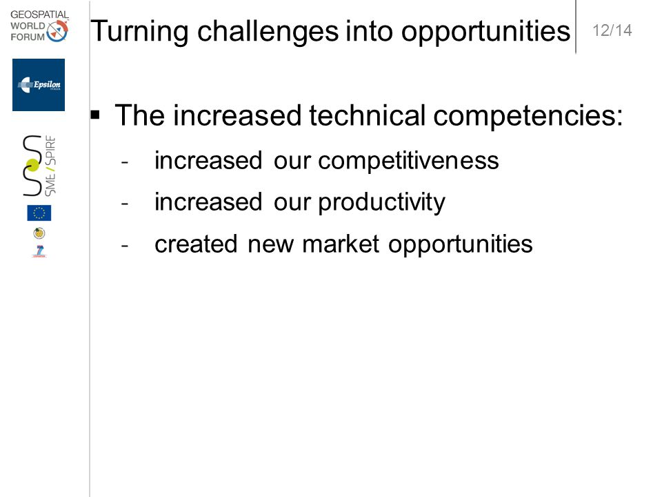 12/14 Turning challenges into opportunities  The increased technical competencies: ˗ increased our competitiveness ˗ increased our productivity ˗ cre