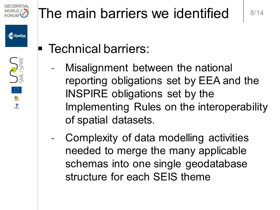 8/14 The main barriers we identified  Technical barriers: ˗ Misalignment between the national reporting obligations set by EEA and the INSPIRE obligations set by the Implementing Rules on the interoperability of spatial datasets.