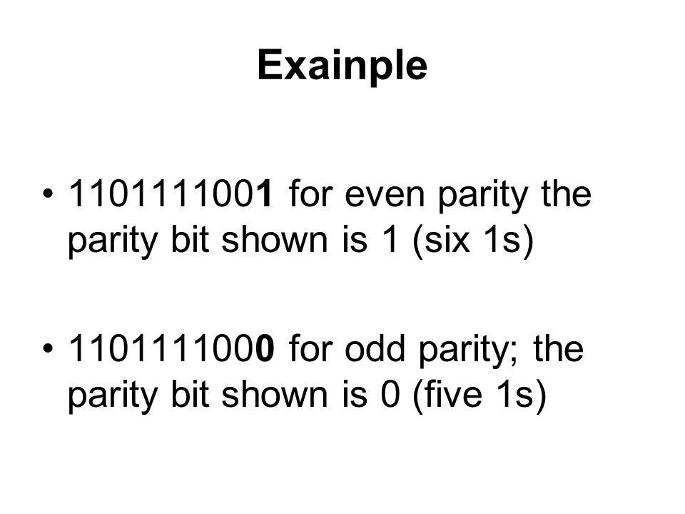 Exainple 1101111001 for even parity the parity bit shown is 1 (six 1s) 1101111000 for odd parity; the parity bit shown is 0 (five 1s)