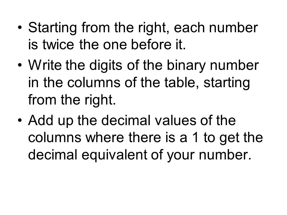 Starting from the right, each number is twice the one before it.