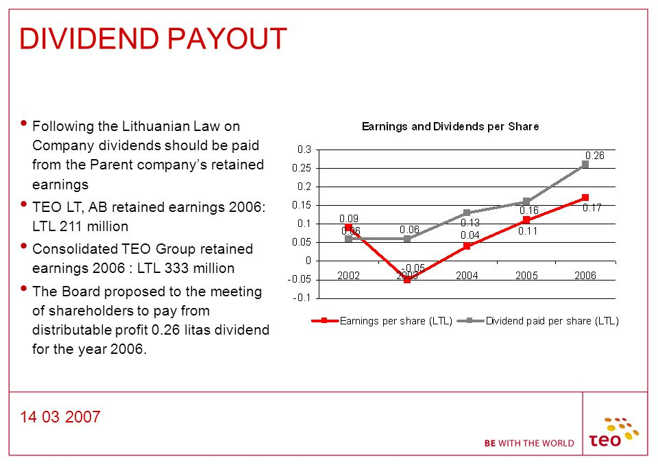 14 03 2007 DIVIDEND PAYOUT Following the Lithuanian Law on Company dividends should be paid from the Parent company's retained earnings TEO LT, AB retained earnings 2006: LTL 211 million Consolidated TEO Group retained earnings 2006 : LTL 333 million The Board proposed to the meeting of shareholders to pay from distributable profit 0.26 litas dividend for the year 2006.
