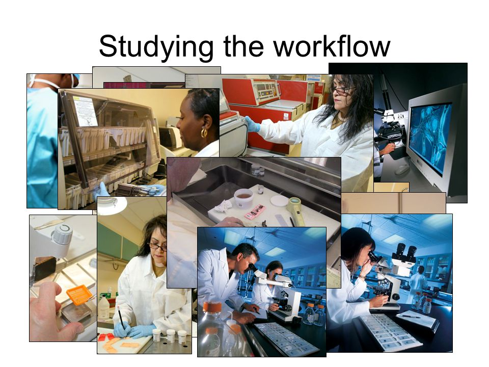 The Pathology Lab Workflow Today Specimen Receiving and Data Entry Slide Viewing Staining Embedding Sectioning Grossing Processing