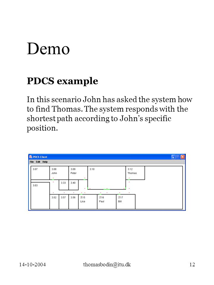 14-10-2004thomasbodin@itu.dk12 Demo PDCS example In this scenario John has asked the system how to find Thomas.