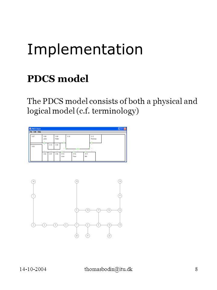 14-10-2004thomasbodin@itu.dk8 PDCS model The PDCS model consists of both a physical and logical model (c.f.