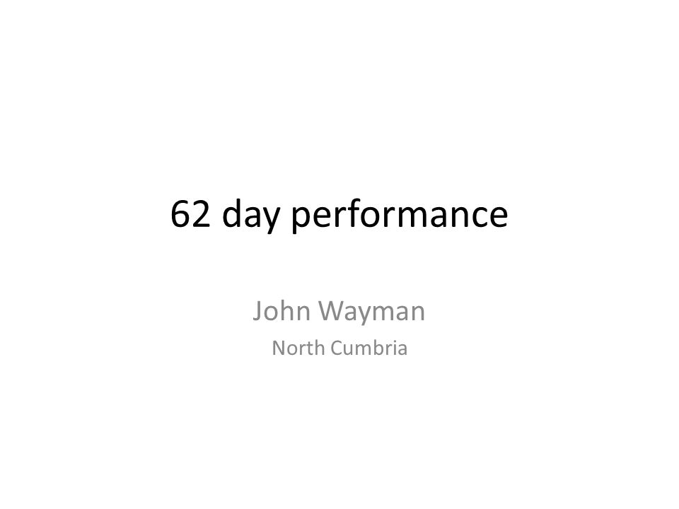 62 day performance John Wayman North Cumbria
