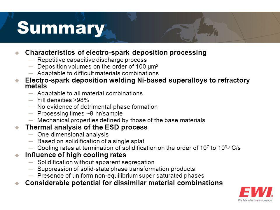 Summary  Characteristics of electro-spark deposition processing ─Repetitive capacitive discharge process ─Deposition volumes on the order of 100 μm 2