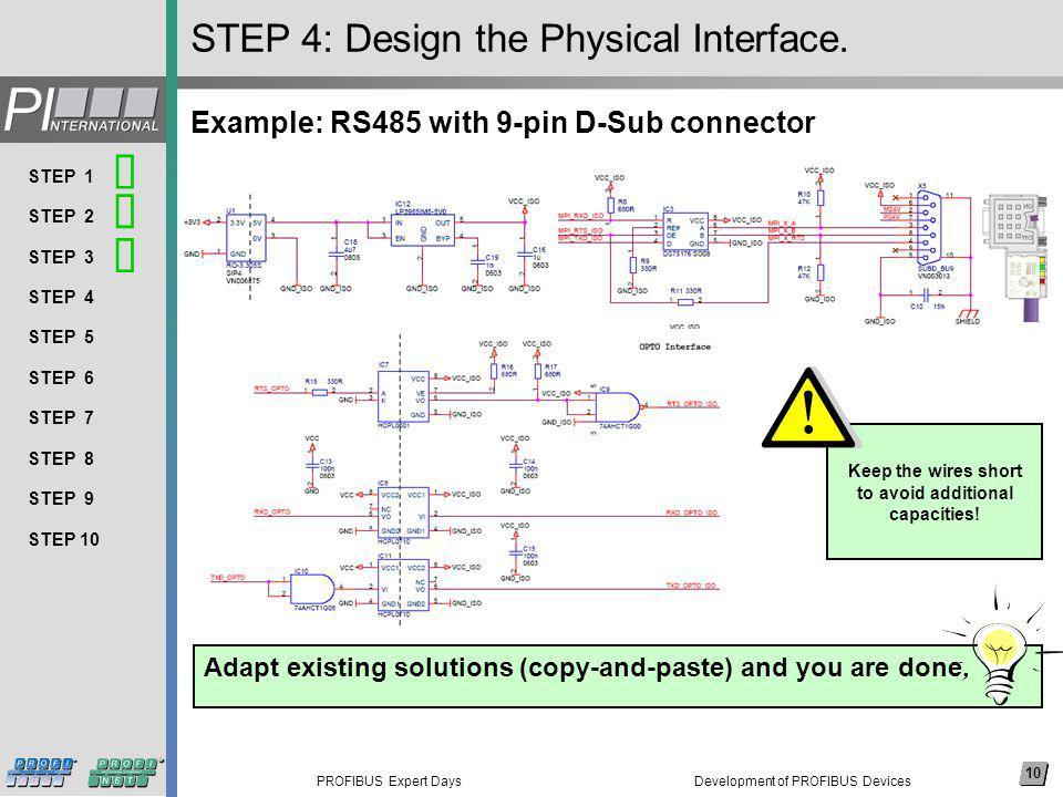 10 PROFIBUS Expert Days Arial, 14 pkt (nicht fett) Thema 1 Thema 2 Thema 3 Thema 4 Thema 5 Thema 6 Thema 7 Thema 8 … 10 STEP 1 STEP 2 STEP 3 STEP 4 STEP 5 STEP 6 STEP 7 STEP 8 STEP 9 STEP 10 STEP 4: Design the Physical Interface.