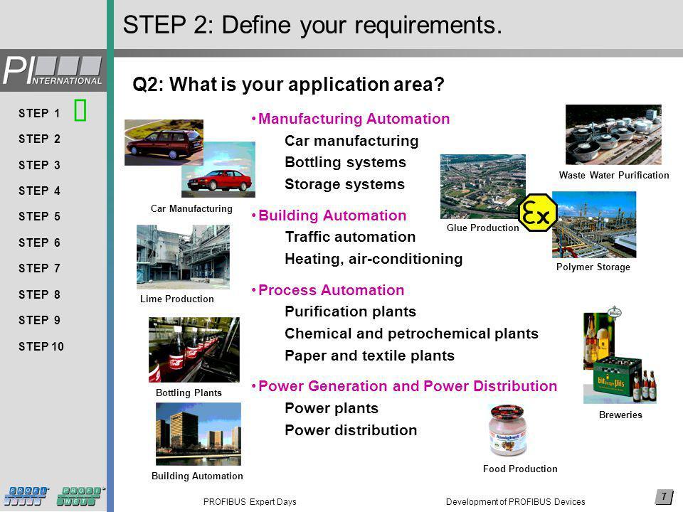 7 PROFIBUS Expert Days Arial, 14 pkt (nicht fett) Thema 1 Thema 2 Thema 3 Thema 4 Thema 5 Thema 6 Thema 7 Thema 8 … 7 STEP 1 STEP 2 STEP 3 STEP 4 STEP 5 STEP 6 STEP 7 STEP 8 STEP 9 STEP 10 STEP 2: Define your requirements.