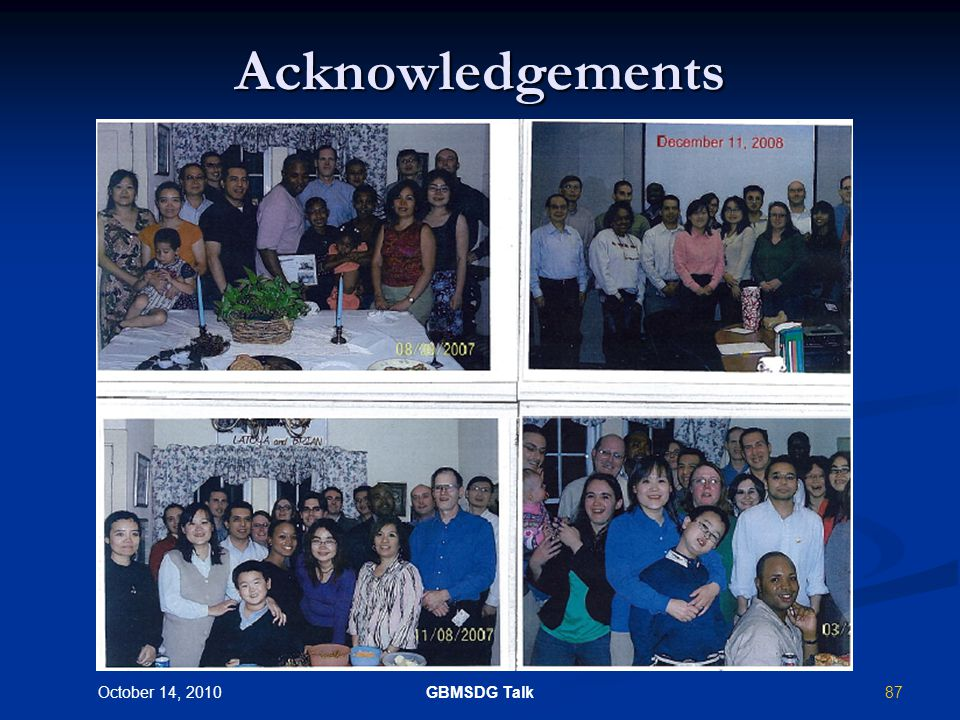86 October 14, 2010 GBMSDG Talk Acknowledgments (Thanks to the following for one or more slides) Waters-MicroMass Waters-MicroMass Thermo-Fisher Thermo-Fisher AB-Sciex AB-Sciex Agilent Agilent Marissa Vavrek Marissa Vavrek Rick King Rick King Swapan Chowdhury Joanna Zgoda-Pols Michelle Reyzer Yunsheng Hsieh Fangbiao Li