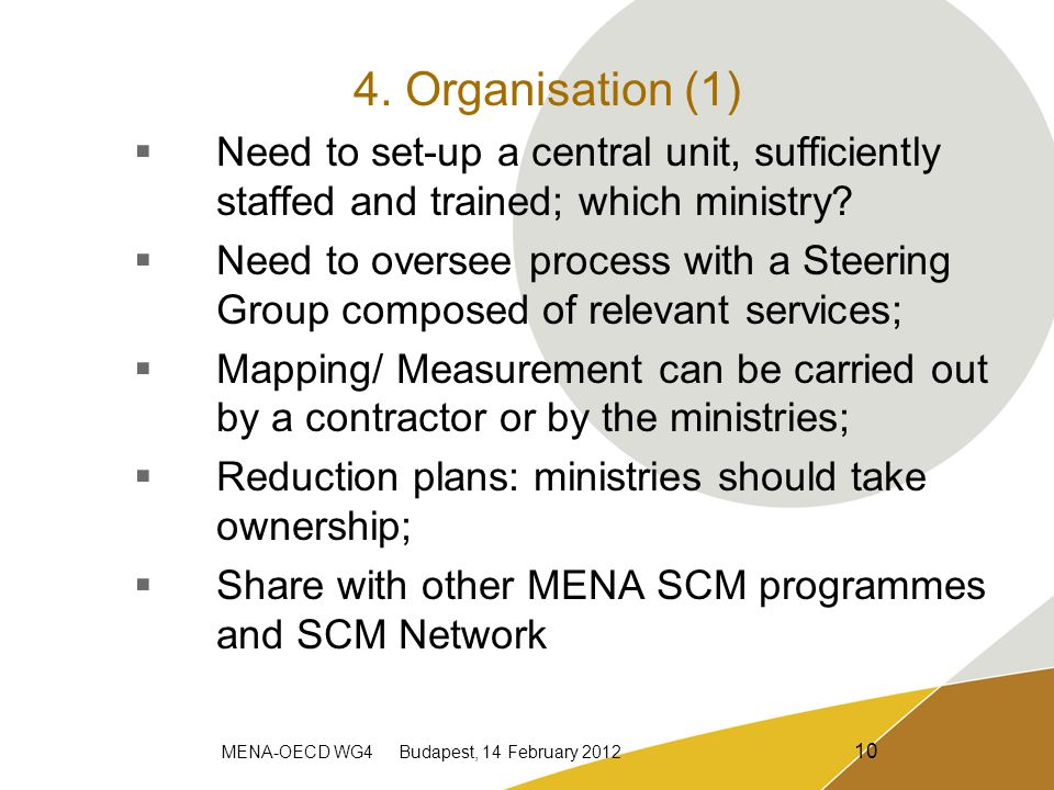 MENA-OECD WG4 Budapest, 14 February 2012 10 4. Organisation (1)  Need to set-up a central unit, sufficiently staffed and trained; which ministry?  N