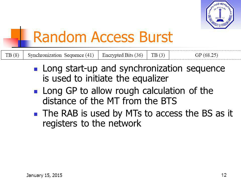 January 15, 201512 Random Access Burst Long start-up and synchronization sequence is used to initiate the equalizer Long GP to allow rough calculation of the distance of the MT from the BTS The RAB is used by MTs to access the BS as it registers to the network