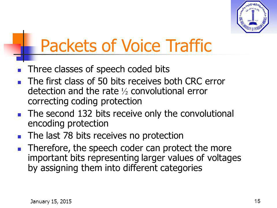 January 15, 201515 Packets of Voice Traffic Three classes of speech coded bits The first class of 50 bits receives both CRC error detection and the rate ½ convolutional error correcting coding protection The second 132 bits receive only the convolutional encoding protection The last 78 bits receives no protection Therefore, the speech coder can protect the more important bits representing larger values of voltages by assigning them into different categories