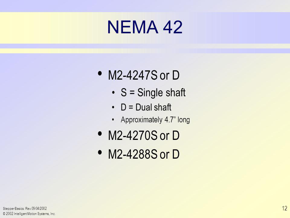 "Stepper Basics: Rev.09/04/2002 © 2002 Intelligent Motion Systems, Inc. 12 NEMA 42 M2-4247S or D S = Single shaft D = Dual shaft Approximately 4.7"" lon"