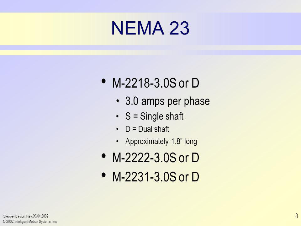 Stepper Basics: Rev.09/04/2002 © 2002 Intelligent Motion Systems, Inc. 8 NEMA 23 M-2218-3.0S or D 3.0 amps per phase S = Single shaft D = Dual shaft A