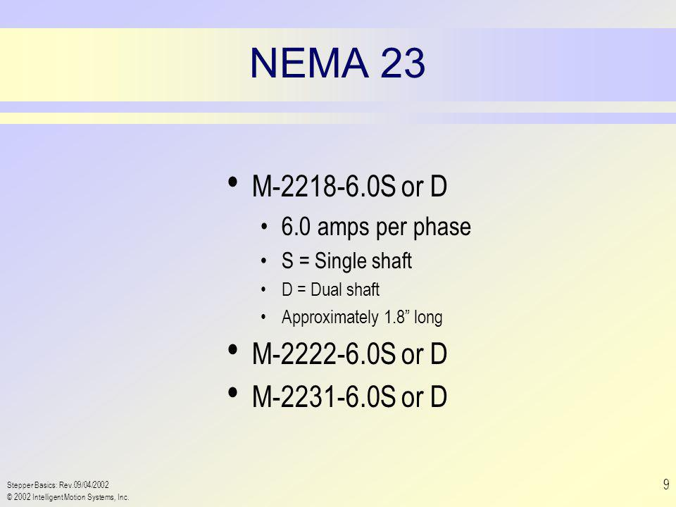 Stepper Basics: Rev.09/04/2002 © 2002 Intelligent Motion Systems, Inc. 9 NEMA 23 M-2218-6.0S or D 6.0 amps per phase S = Single shaft D = Dual shaft A