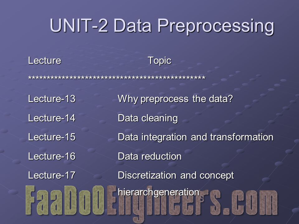 UNIT-2 Data Preprocessing LectureTopic ********************************************** Lecture-13Why preprocess the data.