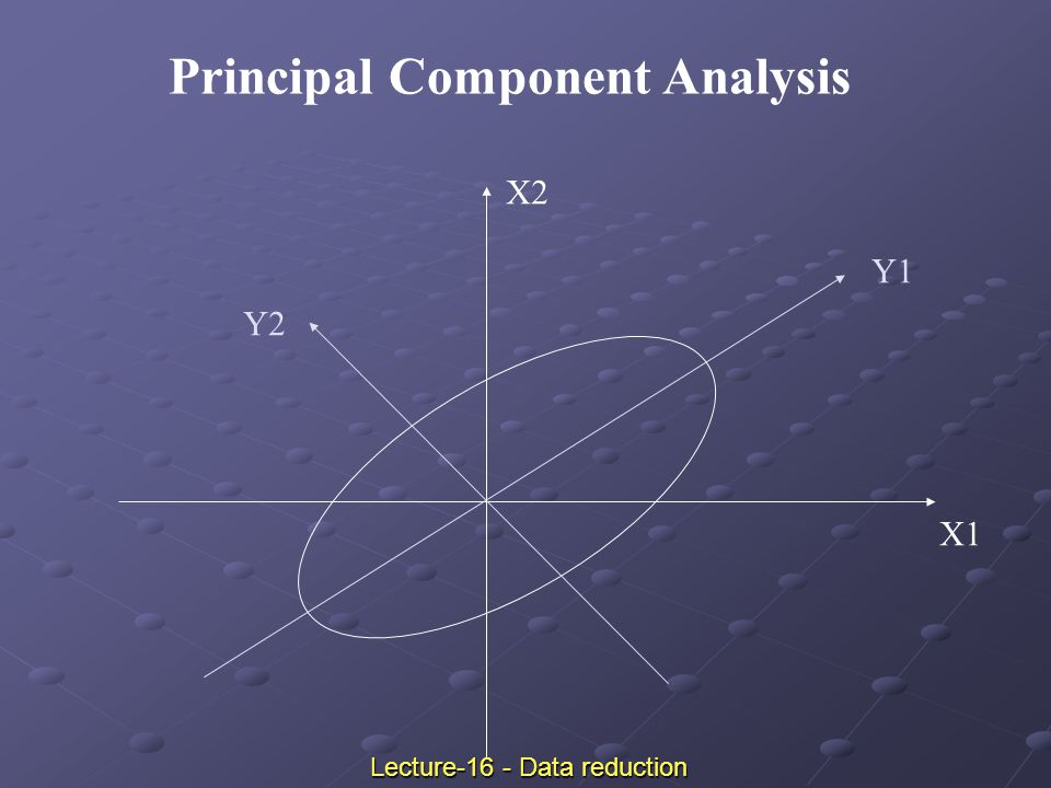 X1 X2 Y1 Y2 Principal Component Analysis Lecture-16 - Data reduction