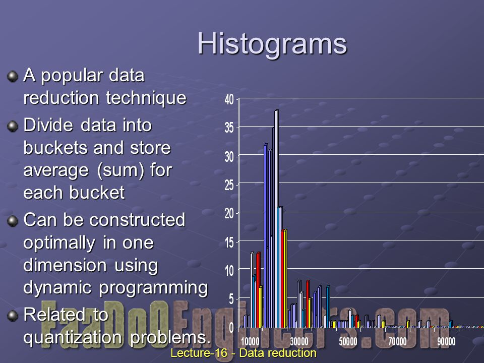Histograms A popular data reduction technique Divide data into buckets and store average (sum) for each bucket Can be constructed optimally in one dimension using dynamic programming Related to quantization problems.