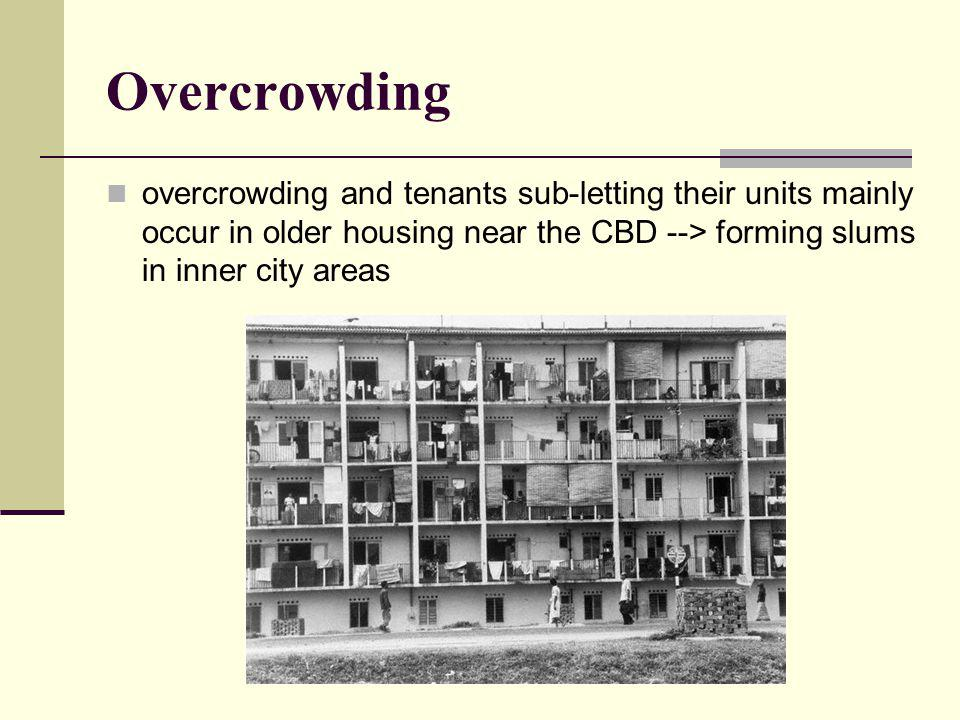 Overcrowding overcrowding and tenants sub-letting their units mainly occur in older housing near the CBD --> forming slums in inner city areas