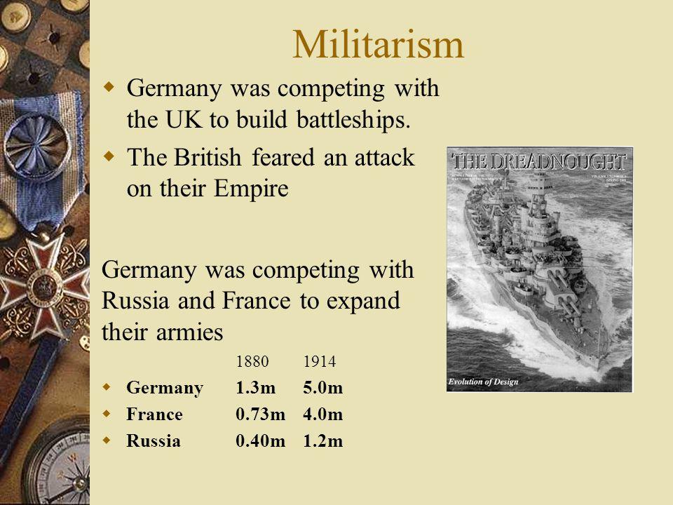 The Causes of WW1 M ilitarism A lliances I mperialism N ationalism