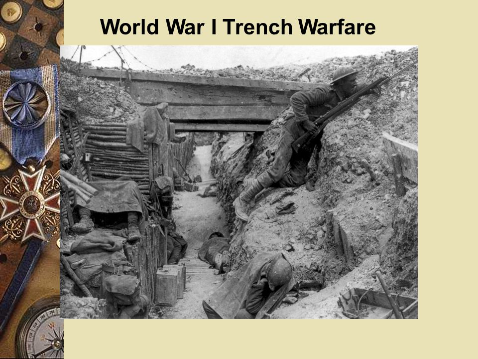 World War I Trench Warfare Aerial photo of German Trenches to the right and British trenches to the left. The area between the trenches is called no m