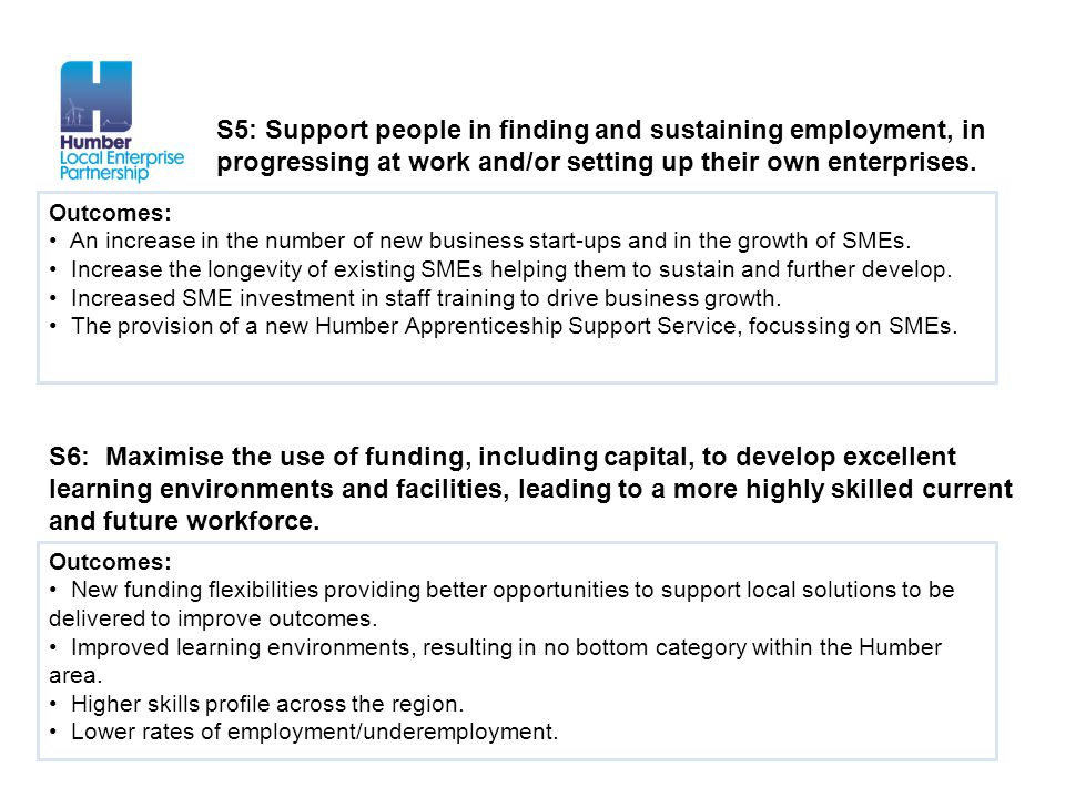 Outcomes: An increase in the number of new business start-ups and in the growth of SMEs. Increase the longevity of existing SMEs helping them to susta