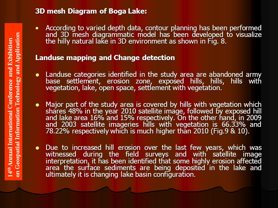 3D mesh Diagram of Boga Lake: According to varied depth data, contour planning has been performed and 3D mesh diagrammatic model has been developed to visualize the hilly natural lake in 3D environment as shown in Fig.