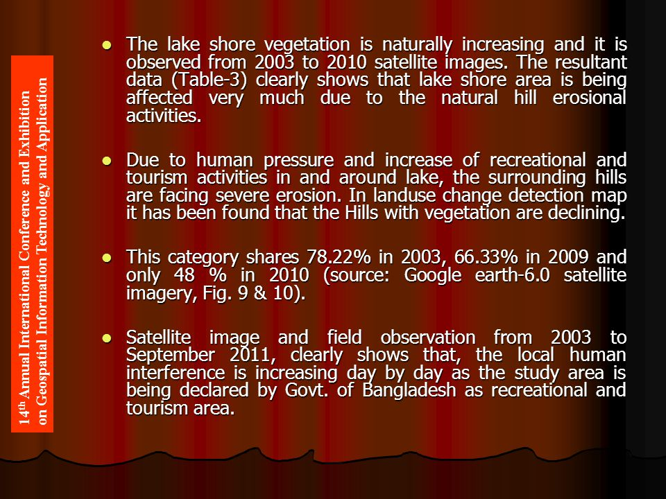 The lake shore vegetation is naturally increasing and it is observed from 2003 to 2010 satellite images. The resultant data (Table-3) clearly shows th