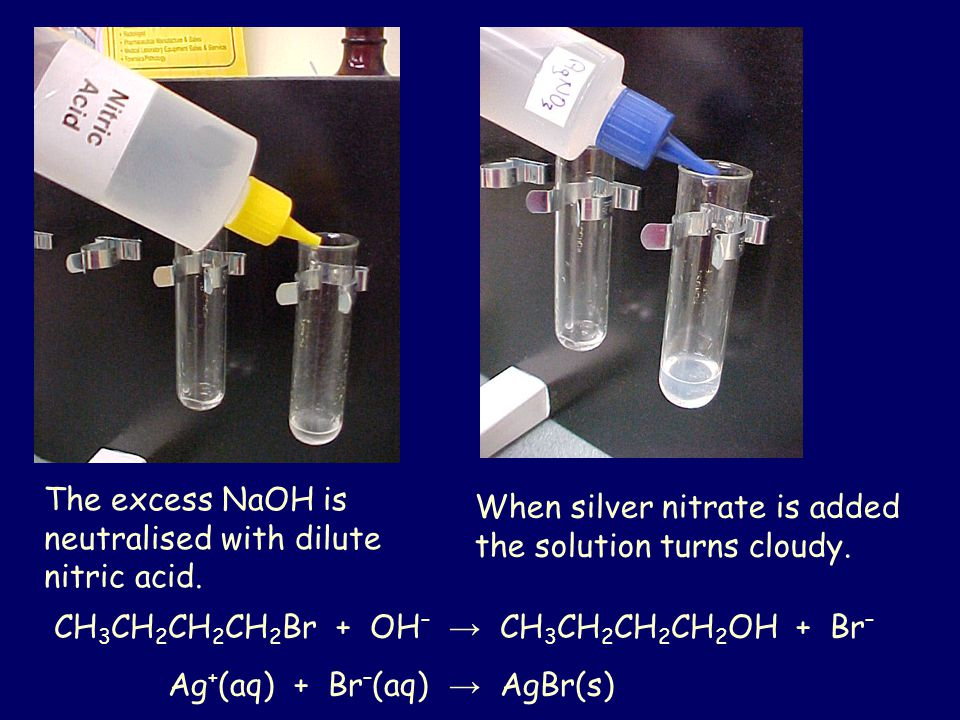 The excess NaOH is neutralised with dilute nitric acid. When silver nitrate is added the solution turns cloudy. CH 3 CH 2 CH 2 CH 2 Br + OH – → CH 3 C