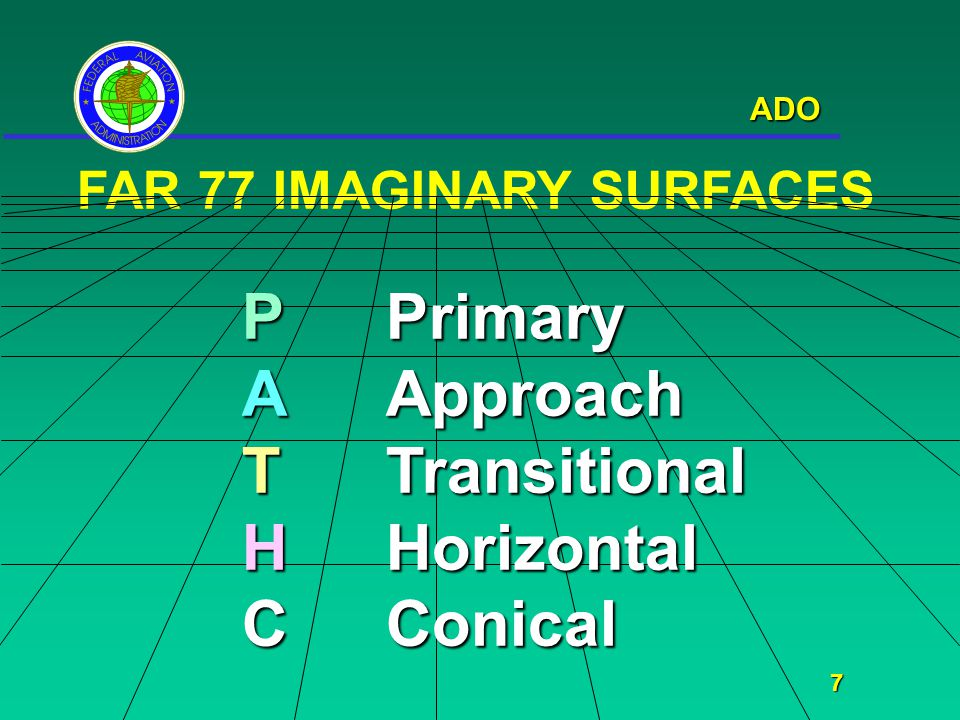 ADO 7 FAR 77 IMAGINARY SURFACES PPrimary AApproach TTransitional HHorizontal CConical