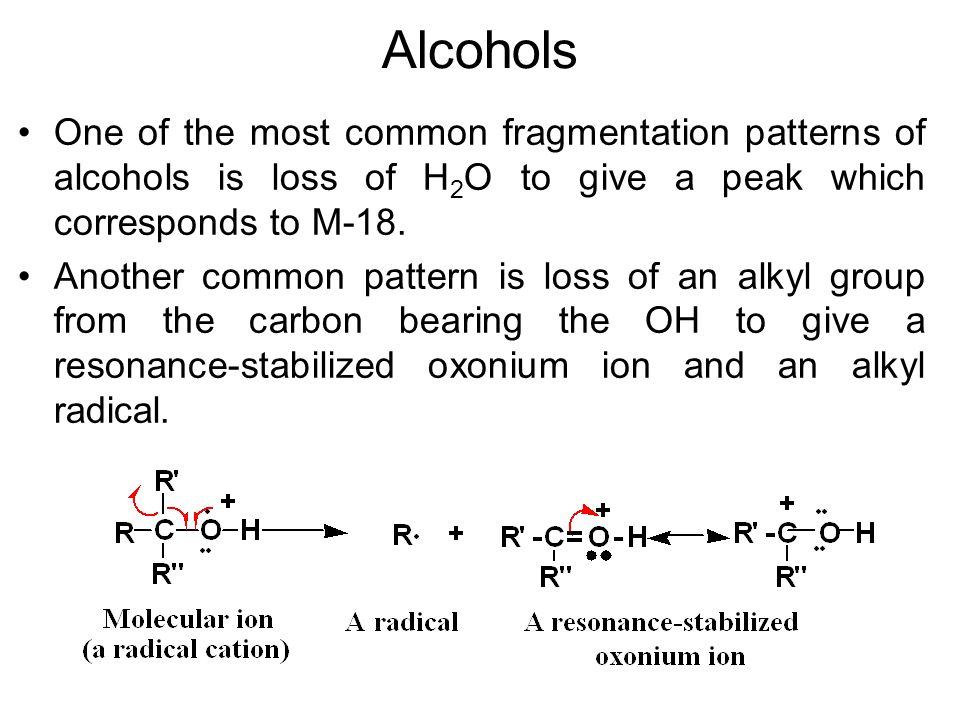 Alcohols One of the most common fragmentation patterns of alcohols is loss of H 2 O to give a peak which corresponds to M-18. Another common pattern i