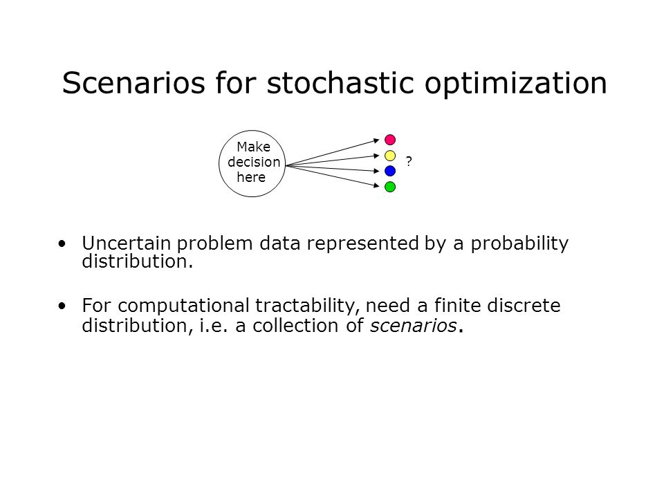 Scenarios for stochastic optimization Uncertain problem data represented by a probability distribution.