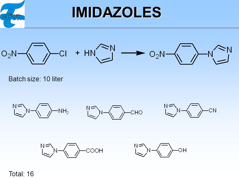 IMIDAZOLES Batch size: 10 liter Total: 16